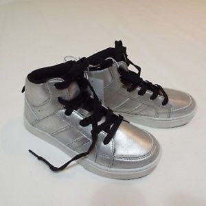 Girls Metallic Silver High Sneakers Size 1